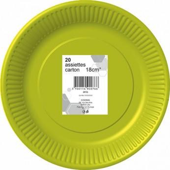 20 assiettes anis en carton - 18cm