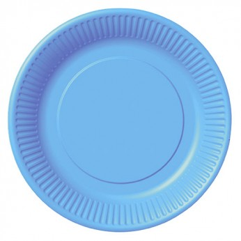 20 assiettes bleues en carton - 18cm