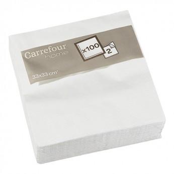 100 serviettes blanches - 33cm_carrefour_traiteur