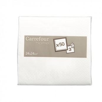 50 serviettes blanches - 25cm_carrefour_traiteur