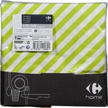 30 serviettes 3 plis diagonale verte - 33cm