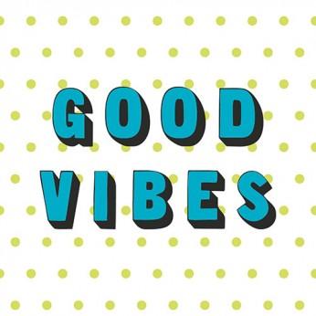 30 serviettes 3 plis good vibes turquoises - 33cm
