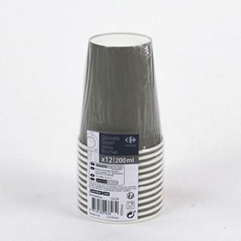12 gobelets gris en carton - 20cl