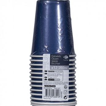 12 gobelets bleu nuit en carton - 20cl