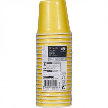 20 gobelets jaunes en carton - 10cl