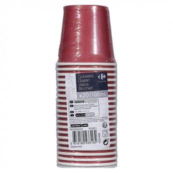 20 gobelets rouges en carton - 10cl