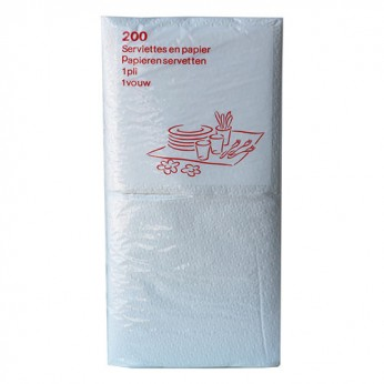 200 serviettes blanches 1 pli - 30cm
