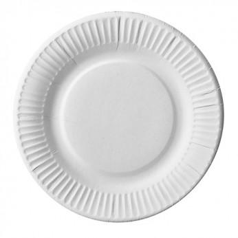 50 assiettes blanches en carton - 18cm