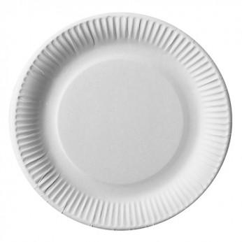 50 assiettes blanches en carton - 23cm