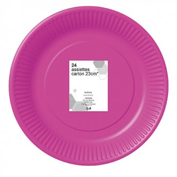24 assiettes fuchsia en carton - 23cm
