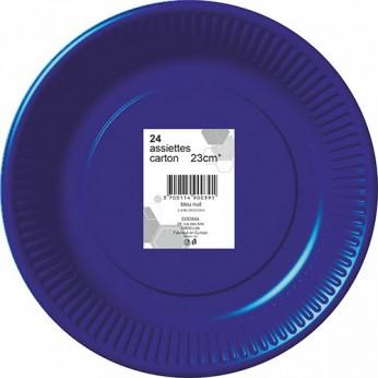 24 assiettes bleues nuit en carton - 23cm