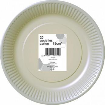20 assiettes grises en carton - 18cm