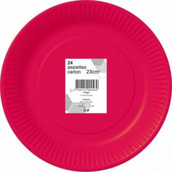 24 assiettes rouges en carton - 23cm