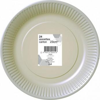 24 assiettes grises en carton - 23cm