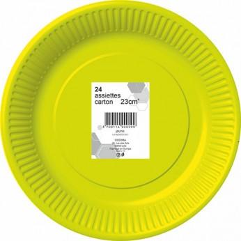 24 assiettes jaunes en carton - 23cm