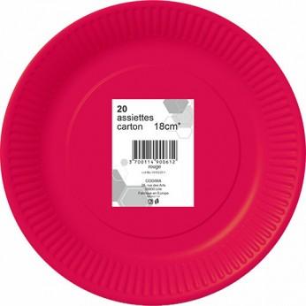 20 assiettes rouges en carton - 18cm