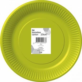 24 assiettes anis en carton - 23cm