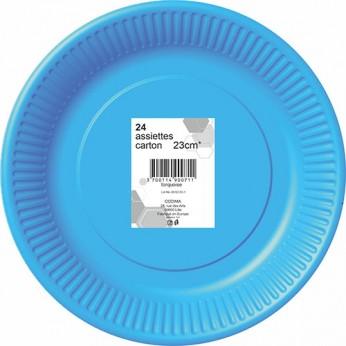 24 assiettes turquoises en carton - 23cm