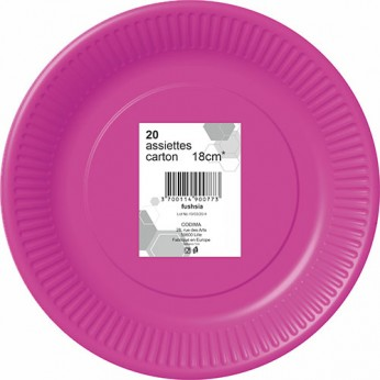 20 assiettes fuchsia en carton - 18cm