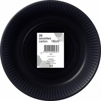 20 assiettes noires en carton - 18cm