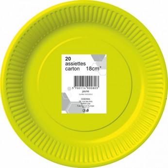 20 assiettes jaunes en carton - 18cm