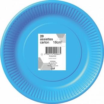 20 assiettes turquoises en carton - 18cm