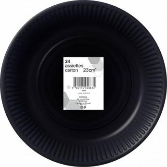 24 assiettes noires en carton - 23cm
