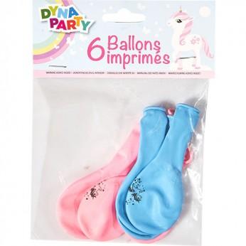 6 ballons licorne en latex