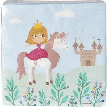 20 serviettes princesse licorne - 33cm