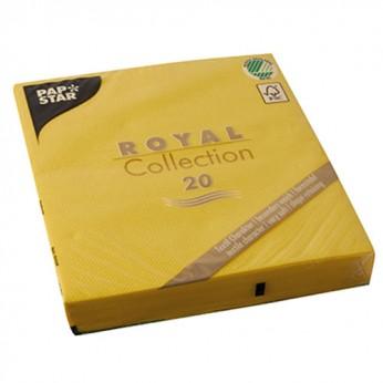 20 serviettes jaunes - 33cm