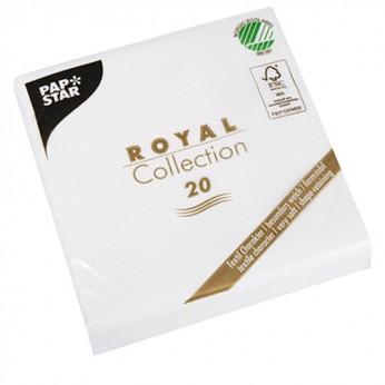 20 serviettes 3 plis tissu blanc - 25cm