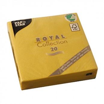 20 serviettes royales jaunes - 25cm