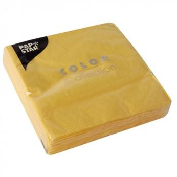 20 serviettes 3 plis jaunes - 24cm