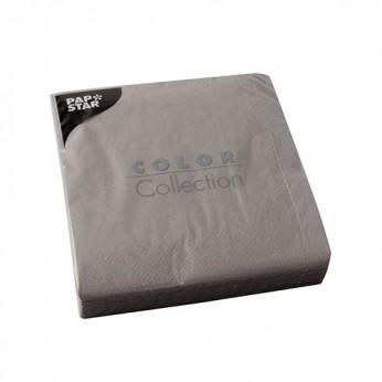 50 serviettes 3 plis grises - 33cm