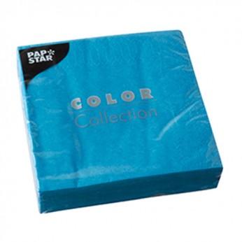 20 serviettes 3 plis turquoises - 24cm