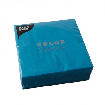 50 serviettes 3 plis turquoises - 33cm