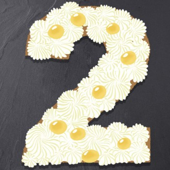 Number Cake - Chocolat blanc / Citron - Numéro 2 - 8 parts