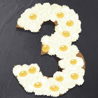 Number Cake - Chocolat blanc / Citron - Numéro 3 - 15 parts