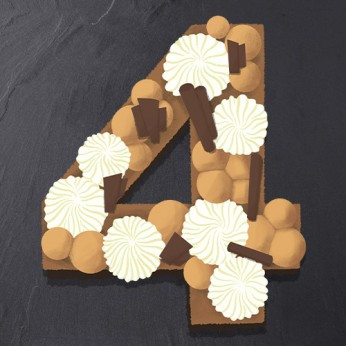 Number Cake - 3 chocolats - Numéro 4 - 15 parts