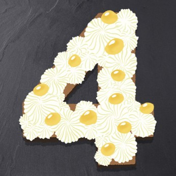 Number Cake - Chocolat blanc / Citron - Numéro 4 - 8 parts