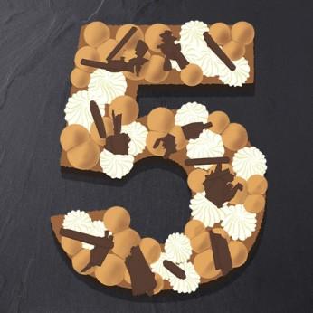 Number Cake - Trois chocolats - Numéro 5 - 8 parts
