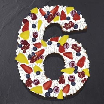 Number Cake - Fraisier - Numéro 6 - 15 parts