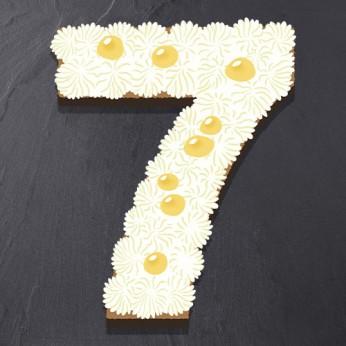 Number Cake - Chocolat blanc / Citron - Numéro 7 - 8 parts