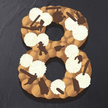 Number Cake - Trois chocolats - Numéro 8 - 8 parts