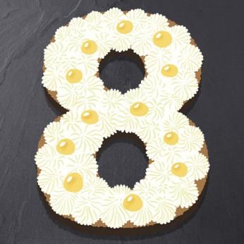Number Cake - Chocolat blanc / Citron - Numéro 8 - 15 parts