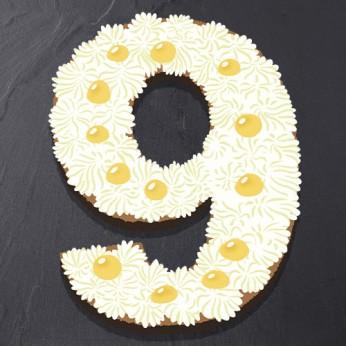 Number Cake - Chocolat blanc / Citron - Numéro 9 - 15 parts