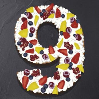 Number Cake - Framboise - Numéro 9 - 8 parts