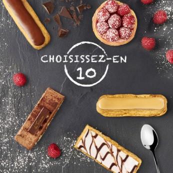 Assortiment de 10 pâtisseries classiques au choix