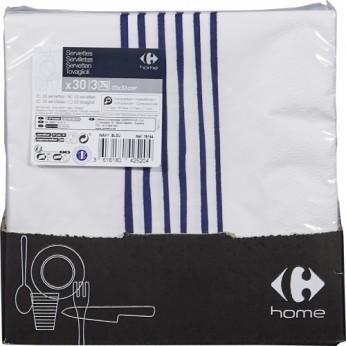 30 serviettes 3 plis wavy bleu - 33cm