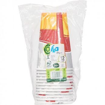12 gobelets imprimés en carton - 34cl